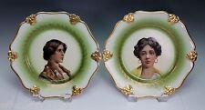Rosenthal Porcelain Gold Green Transfer Portrait Plate Plates Set of 2