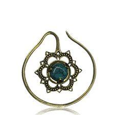 Pair 14g Lotus Flower Tribal Brass Plugs Earrings Gauges Hoops Double Sided