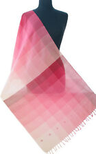"""Hand Woven Cotton Shawl in Shades of Pink Magenta Ombre 83"""" x 23"""" Light Scarf"""