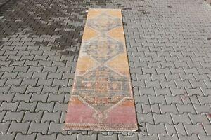 ORANGE Turkish Hallway Runner 2x11ft Vintage Oushak Anatolian Handmade Wool Rug