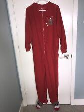 Nick & Nora Footed Pajamas Sock Monkeys Unisex Size Large Fleece Footie PJs