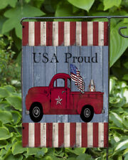 USA Proud Red Truck ~  Double Sided Soft Garden Flag **GARDEN SIZE**   FG1082