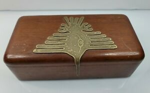 Vintage Bolivian Hand Made Wooden Box From Tiwanaku