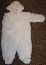 NWT girl 1st IMPRESSIONS white SNOWSUIT hand covers FAUX FUR boy WARM sz 6-9 MTH