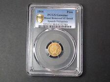 1866 PCGS VF Details Philippines Gold 1 Peso . RARE !