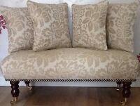 Long Footstool Stool & 4 Cushions Laura Ashley Acanthus Gold Fabric