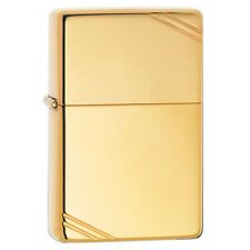 More details for zippo high polished vintage brass lighter plain windproof rounded compact design