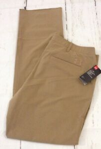 New Under Armour HeatGear Loose Mens Tan Brown Unhemmed Golf Pants Size 40x37