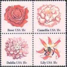 USA 1981 Rose/Lily/Dahlia/Camellia/Flowers/Plants/Nature 4v set blk (n42838)