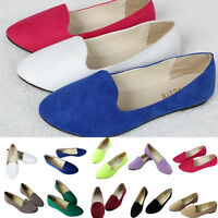 Womens Flats Pumps Suede Pointed Toe Ballet Dolly Bridal Outdoor Casual Shoes