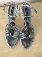 Roberto Cavalli Silver Jeweled Sandals Suede Insoles Stiletto Heel NIB Sz 37 1/2