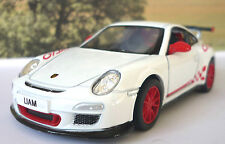PERSONALISED PLATE White 2010 Porsche 911 Toy Car Boys Dad Model Birthday Gift