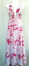 Lds Evoke Sz 12 Pink & White Floral Halter Plunge V Neck Backless Midi Dress New