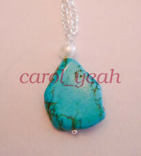 Natural turquoise pearl necklace pendant 18 inches silver clasp