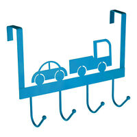 Blue Car Truck 4 Hook Over Door Hanger Metal Clothes Towel Coat Storage Holder