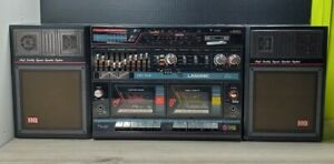 LASONIC Boombox LPC-90K Retro Radio Double Cassette Player Mic Recording HG