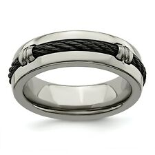 Edward Mirell Grey Titanium 7mm Cable Inlay Polished Wedding Band Sizes 6 to 13