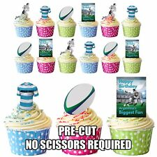 PRECUT Argentina Rugby Fan-cumpleaños comestibles cupcake toppers decorations