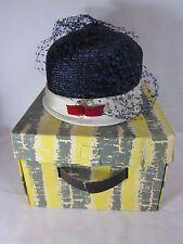 Gimbels Mujer Sombrero Art Déco Flapper Talla 22 Blanco Rojo Azul