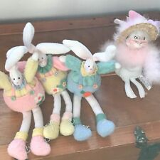 Lot of 3 Cricket Company Pink Blue & Yellow Felt Spring & Annalee Bunny Rabbit