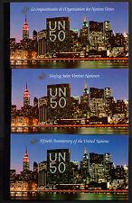 UNITED NATIONS, SCOTT # NEW YORK 670, GENEVA 276, VIENNA 192, SET OF 3 BOOKLETS