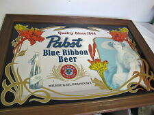 """VINTAGE  PABST BLUE RIBBON BEER LARGE FRAMED MIRROR  41"""" X 29"""" LADY  60'S RARE"""