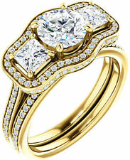 2.22 ct 3 Round & Princess cut Diamonds Engagement Wedding 14k Yellow Gold Ring