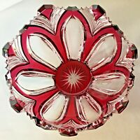 """Ruby Red Glass Bowl 4"""" Cranberry Cut to Clear Hand Carved Glass Sharp Scallops"""