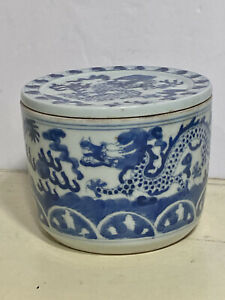 Antique Chinese Blue & White Porcelain Dragon Lidded Spice/Tobacco Jar