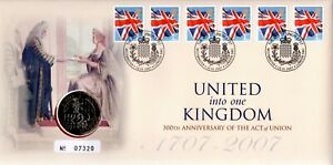GB 2007 COVER 300TH ANNIV ACT OF UNION UK WITH £2 COIN