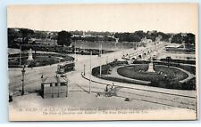 *Tours France Les Squares Descartes Rabelais Stone Bridge Vintage Postcard B92