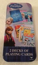 Disney FROZEN Elsa Anna Olaf 2 Decks of Playing Cards In Collectible Tin Box