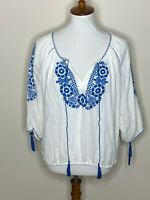J.Crew Small White Blue Embroidered 3/4 Sleeve V-Neck Women's Top Shirt