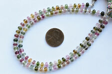 8 Inches Multi Tourmaline Smooth Rondelle Natural Gemstone Beads
