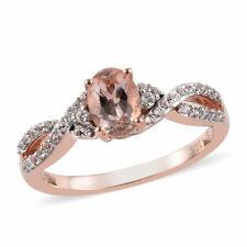 10K Oro Rosa Oval Morganita promesa de topacio blanco anillo tamaño 7 Cttw 0.8