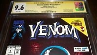 Signed Venom Lethal Protector 1 CGC SS 9.6 (NM+ ) by Todd McFarlane White Pages