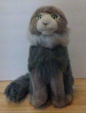 "FAO Schwarz Maine Coon Cat Plush Stuffy Gray Green Eyes Red Fish Collar Toys 11"""