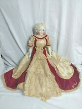 "Large Antique German China Doll Head Blonde Center Part ABG 784 24"" circa 1880's"