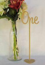 Set of 10 Freestanding Wedding Wooden Table Numbers With Base/sticks