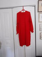 HORCHOW--RED CASHMERE NECK TIE DRESS---LARGE