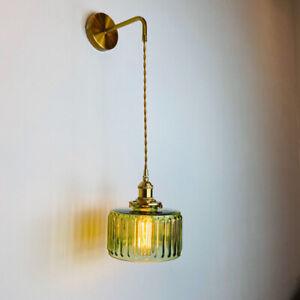 Light Green Glass Brass Wall Lights Bedside Living Room Wall Lamp Sconce Fixture