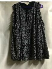 Michsel Kors 2x Black White Leopard Cheetah Cold Shoulder Ruffle