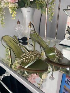 Tony bianco heels green size 7 /38 formal wear ankle tie.