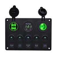 5 Gang LED Switch Control Panel Circuit Charger 12V 24V-Boat RV Marine Green AU