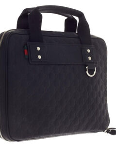 NEW AUTHENTIC GUCCI GUCCISSIMA BLACK MONOGRAM LAPTOP BAG CASE VERY RARE 13