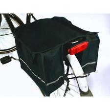 DOUBLE BICYCLE PANNIER BAG (BLACK ) REAR BIKE RACK CARRIER WATER RESISTANT NYLON