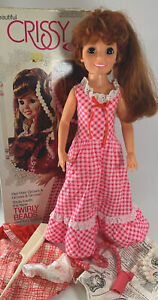 """Vtg 1974 Ideal """"Beautiful Chrissy"""" 18"""" Doll-Extra Outfit & Access. Hair Grows!"""