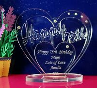 Personalised 75th Birthday  Heart Gift with message -  Free Standing Keepsake