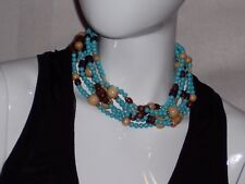 Kenneth J Lane Gold Tone 6 Strand Necklace Turquoise Colored Beads 6mm-14mm