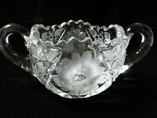 VTG ABP SUGAR BOWL American brilliant cut THICK crystal glass fluorescence green